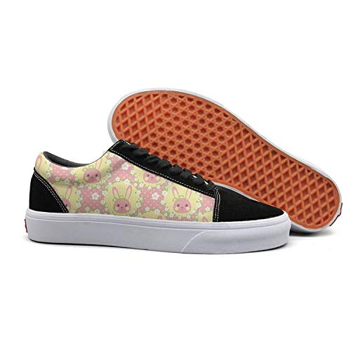 Migny Hills Women's Low Top Shoes Funny Bunny in Yellow Wreath Pink Fashion Sneakers -