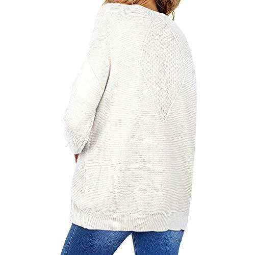 Femmes Manches Aux Unie Face Automne Cardigan Chandail Poche Femme Hiver pour Femme Devant Blanc Solide Manteau VTements Hiver Manteau Longues Ouvrir De xYzAqYwvH