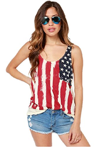 Jzoeoeu Women's Flag Shirt Tops Tank Top Low-cut Round Neck Chiffon Top (Large) - Flag Top Shirt