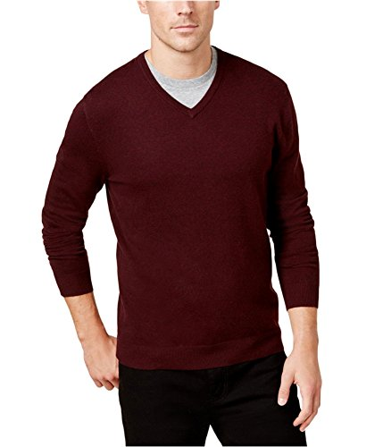 (Alfani Mens Ribbed Trim Long Sleeve Casual Shirt Red M)