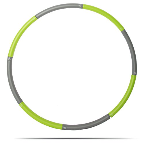 3 Pound Weighted Hula Hoop For Exercise Weight Loss. Perfect for Dancing, Hot Fitness Workouts and Simply the Funnest Way to Lose Weight. (Gray & Green)