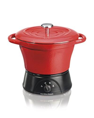 Hamilton Beach Party Crock Cast Iron Dutch Oven, Red (33410)