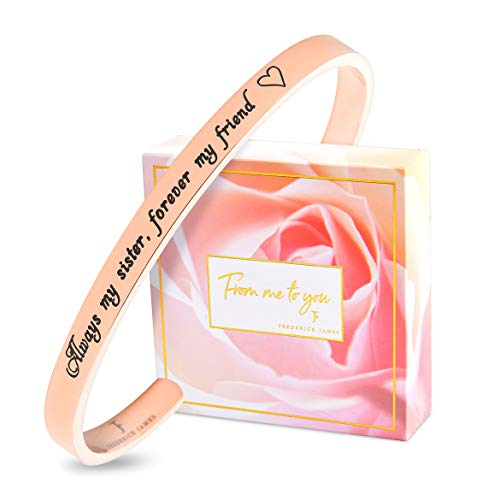 FJ FREDERICK JAMES Sister Gifts from Sister - Sister Bracelet - Always My Sister, Forever My Friend - Perfect Sister Birthday idea (Birthday Sister Happy To)