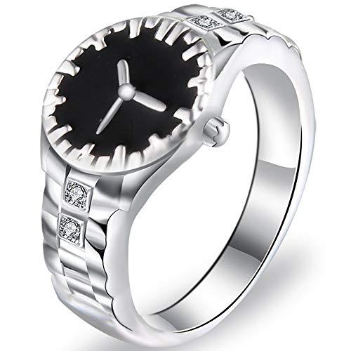 Jude Jewelers Silver Plated Watch Style Cocktail Party Statement Ring (Silver Black, 9) from Jude Jewelers
