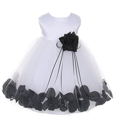 iGirlDress Baby Girls Satin Bodice Flower Pageant Petal Dress Infant 12mos White/Black -