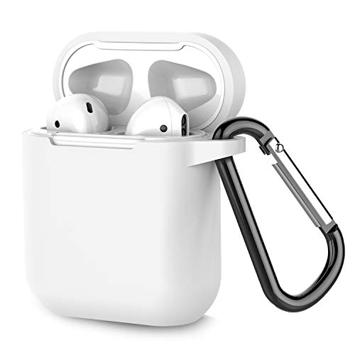 - Airpods Case, Coffea AirPods Accessories Shockproof Case Cover Portable & Protective Silicone Skin Cover Case for Apple Airpods 2 &1 (Front LED Not Visible) - White