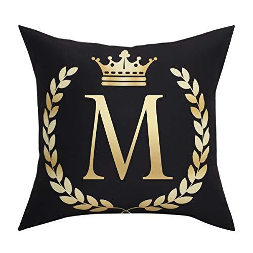 BLEUM CADE Black Pillow Cover Throw Pillow Case English Alphabet M Throw Pillow Case Modern Cushion Cover Square Pillowcase Decoration for Sofa Bed Chair Car ()