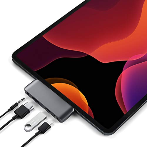 Satechi Aluminum Type-C Mobile Pro Hub Adapter with USB-C PD Charging, 4K HDMI, USB 3.0 & 3.5mm Headphone Jack - Compatible with 2018 iPad Pro, Microsoft Surface Go (Space Gray)