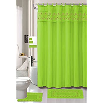 18 piece embroidered floral bathroom set bath rugs shower curtain hooks 3pc towel set - Bathroom Accessories Lime Green