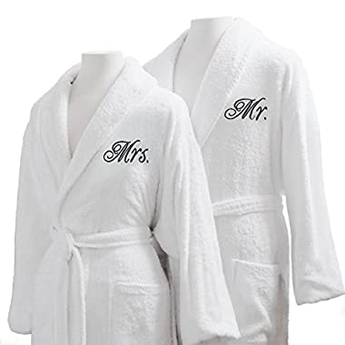Couple's Terry Cloth Bathrobe Set- Unisex/One Size Fits Most - Luxurious, Soft, Plush, Elegant Script Embroidery - Perfect Wedding Gift - Luxor Linens - San Marco - Mr. & Mrs. with Gift Packaging