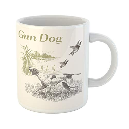 Funny Hunting Dog - Emvency Funny Coffee Mug Sketch Dog Hunting Gun Engraved with Landscape Animals Collection Drawings Duck 11 Oz Ceramic Coffee Mug Tea Cup Best Gift Or Souvenir