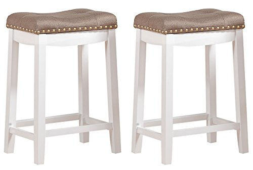 Angel Line Cambridge Padded Saddle Stool, White with Tan Cushion, 24'' H, Set of 2 by Angel Line