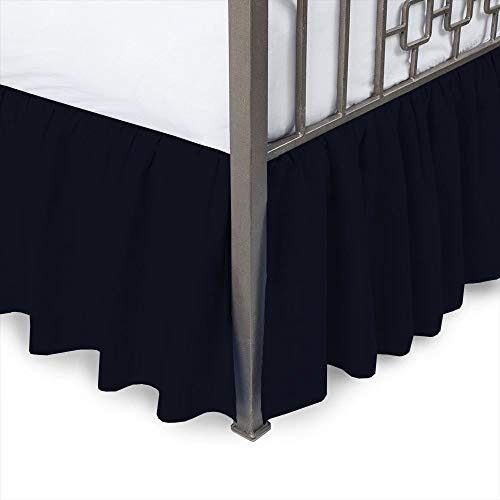 Ruffled Bed Skirt with Split Corners-Navy Blue,Full-XXL BedSkirt,Gathered Style Easy fit up to 8 Inch Drop Platform Ruffle Bed Skirts.
