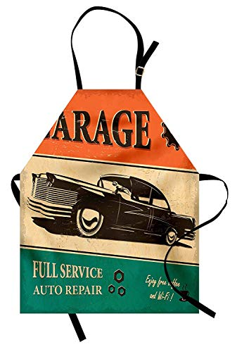 T&H Home Vintage Apron, Garage Retro Poster with Classic for sale  Delivered anywhere in USA