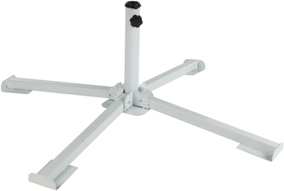 Aktive - Pie plegable de 4 patas para parasol, color blanco (53762)