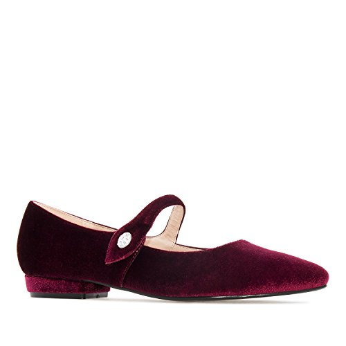 Andres Machado AM5204.Mary Janes in Velvet/Faux Leather.Large Sizes: UK 8 to 10.5/EU 42 to 45. Burgundy Velvet