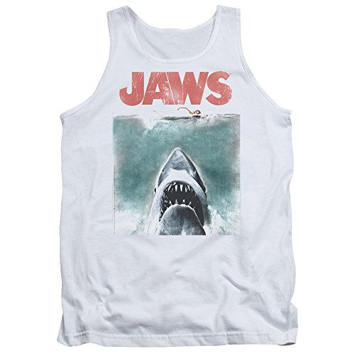 1970s Top - Jaws 1975 Shark Thriller Spielberg Movie Color Poster Adult Tank Top Shirt