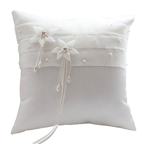 BessWedding Beach Wedding Bearer Pearl Flower Wedding Party Ring Pillow 003A by BessWedding