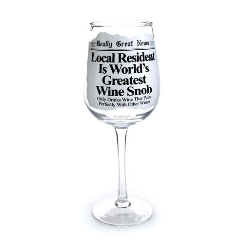 Enesco Really Great News Snob Wine Glass, 8.875-Inch by - News Glasses