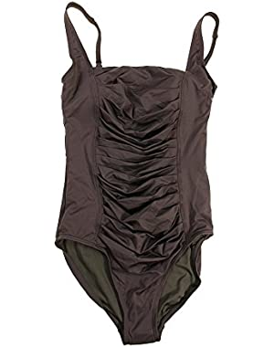 Calvin Klein Ruched-Panel One-Piece Swimsuit Chocolate
