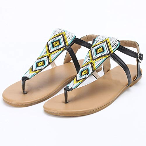 e480452447bf JJLIEKR Women Bohemian Beaded Thong Flat Sandals Casual Flip Flops Ankle  Buckle Strap Beach Shoes Maternity