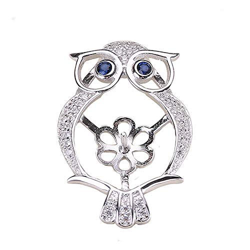 HENGSHENG 1 Piece Zircon Rhinestone Owl Shape Pendant Mounting 925 Sterling Silver Pearl Pendant Fitting as Pearl Jewelry Making Kit