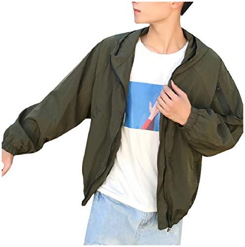 Con Cappuccio Verde Plus Punk Militare Maschile Mogogo Rock Size Zip Felpa Fino Tasche Cappotti Casuale U7087Fq
