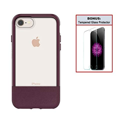 (Otterbox Exclusive Bundle: Ultra-Slim Case for iPhone 8/7 - Extreme Drop Protection - Premium Leather with Clear Design - Scratch Resistant - Wine + Bonus Clear Tempered Glass Screen Protector)
