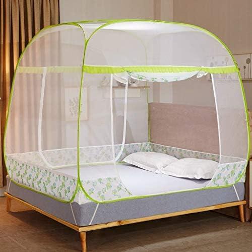 Home Textile 蚊帳 3ドア スクエア トップ スチールワイヤー 蚊帳 1.5m/1.8m ベッドジッパー 蚊帳 1.8x2.0m bed グリーン WZ18169