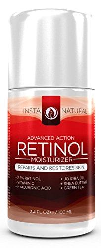 Ретинол крем увлажняющий крем - с 2,5% ретинола, витамина C 10%, Vegan гиалуроновая кислота, масло ши и масло жожоба - это анти-старения увлажняющий крем идеально подходит ночь или день Крем для уменьшения морщин и других признаков старения - Увлажняет ко