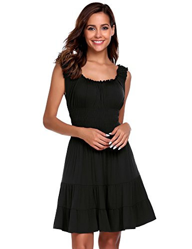 Pleated Square Neck - ELESOL Women Pleated Sleeveless Square Neck Fit and Flare A-line Mini Dress Black L