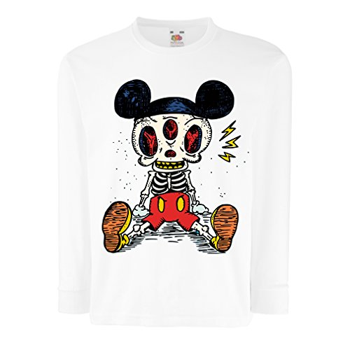 T-Shirt for Kids Mouse Skeleton Halloween Party Outfits Trick or Treat Death Skull Design (9-11 Years White Multi Color) ()