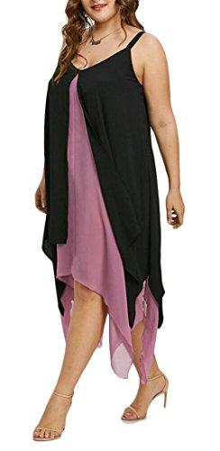 Jaycargogo Femmes Été Mince Sangle Spaghetti Coutures De Couleur En Forme Irrégulière Robe 1
