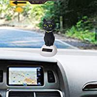 Glumes Dancing Solar Toys - Black Cat Shape Solar Powered Toys Car Accessories Swinging Dancing Toy Great Holiday Car Dashboard Office Desk Home Decor