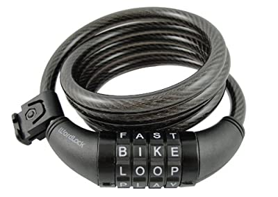 Wordlock CL-409-BL 4-Letter Combination Bike Lock Cable, 5-Feet