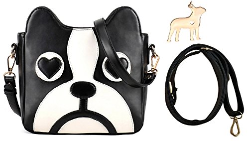 hideaway Boston Terrier Face Bag Cross Body Shoulder Clutch Purse [ With Lovely Charm and Spare Strap (Boston Terrier Face)