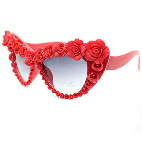 roja Ultra de Vacaciones Romántico Pearl de Cat Eyes UV de de Conducir a Rose Ligero Las Mujeres para Playa Sol de Verano Gafas Gafas Sol Hecho Protección Mano wrzIw1q4