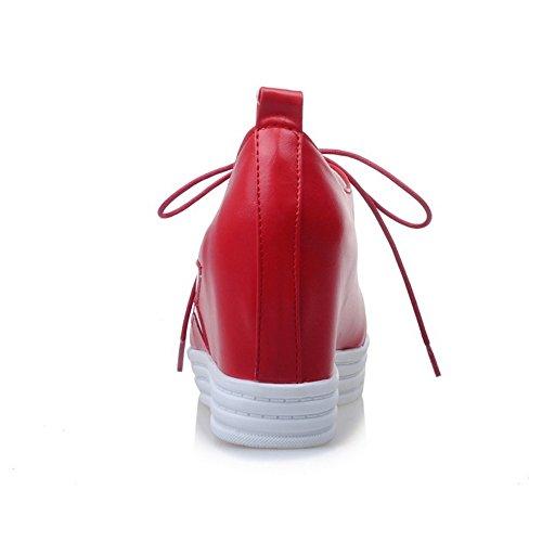 COOLCEPT Damen Mode Schnurung Pumps Geschlossene Aufzug Schuhe Rot