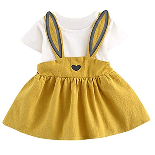Cute Rabbit Baby - Newborn Toddler Baby Girls Easter Summer Casual Cute Rabbit Ear Heart Strap Dress Clothes 0-24 Months (Yellow, 12 Months)