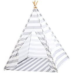 Deluxe Kids Teepee Play Tent in Cotton Canvas with Attached Floor, Window, Bamboo Poles, and Carrying Case (Gray/White Stripes)