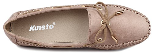 Mocassino In Scamosciato Da Donna Kunsto Slip On Flat Beige