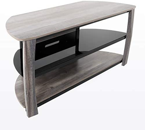 Living Essentials Norwalk TV Stand, 55 TV Console with Cable Management Black Tempered Glass Shelf Greyson Olive