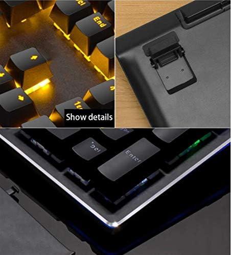 KUYUC Clavier Gaming Mécanique avec Repose-Poignet, Clavier Gamer avec 34 Rétroéclairé & 108 Touches Programmables pour PC Bureau Jeux (Color : Black, Size : A)