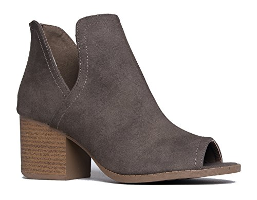 Western Low Ankle Boot - Cut Out Stacked Heel Bootie - Comfortable Walking Shoe - Tabs by J. Adams (Sexy Womens Boots)