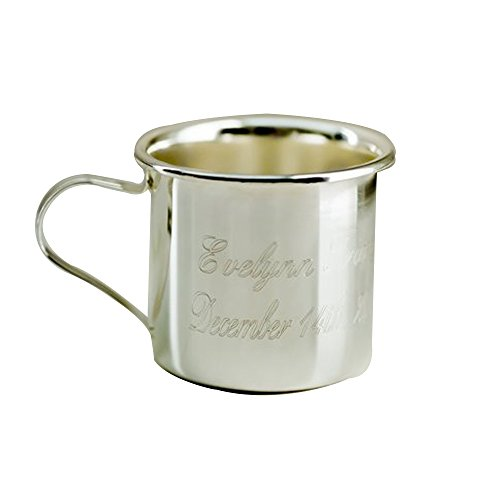 Personalized Sterling Silver Baby Cup - GiftsForYouNow Engraved Silver Baby Sippy Cup, Includes Plastic Lid