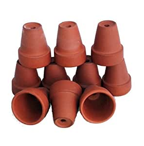 """10 Ultra Mini 1 1/2"""" x 1 7/8"""" Clay Pots - Great for Plants/Crafts/Fairy Gardens"""