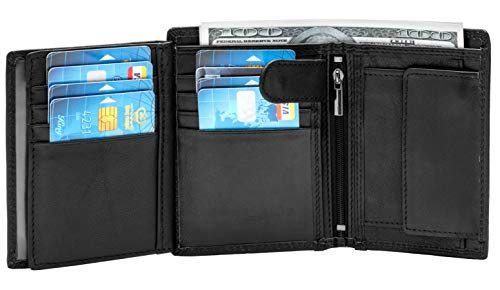 Large RFID Blocking Large Trifold Leather Wallet for Men with 3 ID Windows and Zipper Coin Pockets (Black)