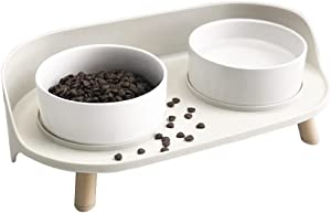Marchul Ceramic Double Cat Bowl, Raised Cat Food and Water Bowls, No Tip and No Spill