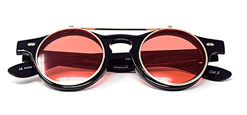 Ultra Steampunk Lentes de Negro sol de Marco gafas Rojas Retro de calidad redondas gafas Cyber UV400 alta círculo gafas r57q46xUnr