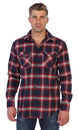 (Gioberti Men's Plaid Checkered Brushed Flannel Shirt, Red/Navy/Gray, Size Medium)